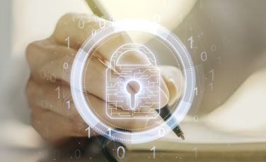 Creative lock illustration with microcircuit and woman hand writing in diary on background, cyber security concept. Multiexposure